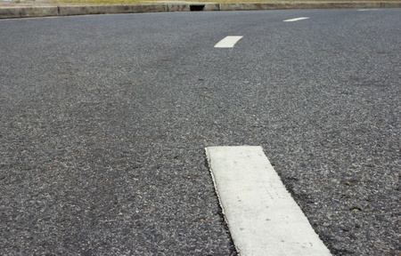 Curve of white line on street
