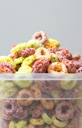 cereal box: Cereal loops in box closeup Stock Photo