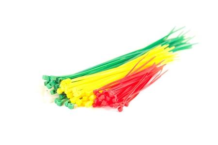 zip tie: Multicolor group Nylon Cable Ties Stock Photo