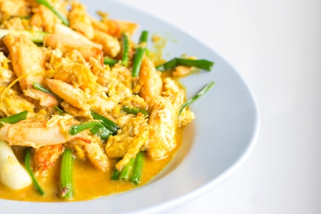 Closeup Stir-Fried crab with curry Stock Photo