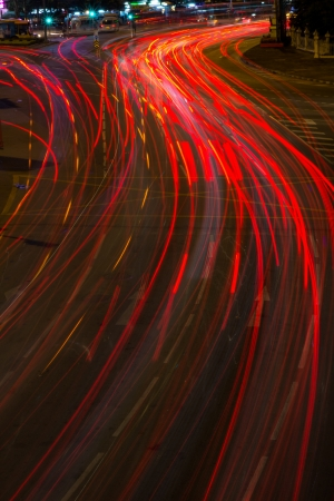 Moving car with blur light on street Stock Photo