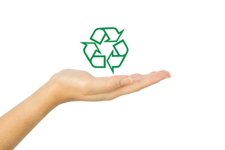 Recycle icon on hand  Stock Photo - 15588250