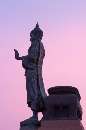 Big buddha statue walking on twilight sky photo