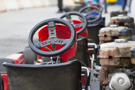 Perspective row of Go-kart ready to start  Stock Photo