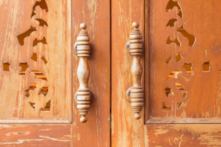 Handle wooden doors close up thai style  Stock Photo