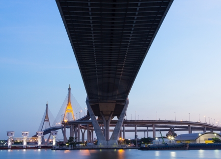 Bhumibol Bridge,the Industrial Ring Bridge at twilight photo