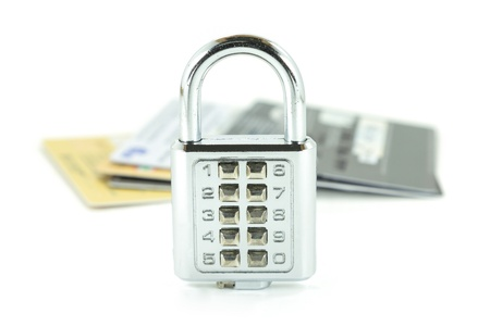 Digital combination lock and background group of credit cards  Stock Photo