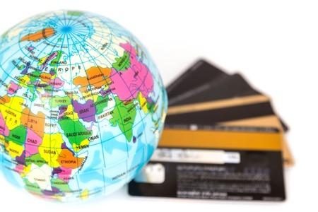 Credit cards concept around the world  Stock Photo