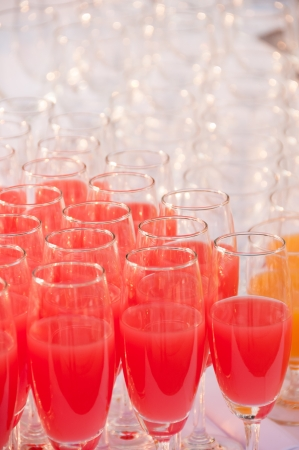 Juices in a glass served on catering