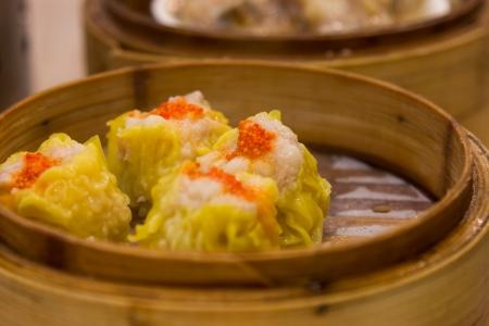 Steamed shrimp dumplings closeup  Stock Photo