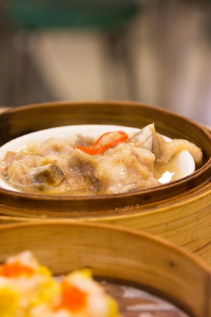 Steamed pork ribs dim sum menu  Stock Photo