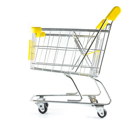 Side view shopping cart on white background Stock Photo - 17390515