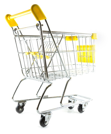Back view shopping cart on white background  Stock Photo - 17390516