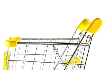 Closeup side view shopping cart on white background