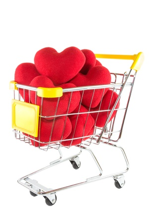 Many red hearts in shopping cart  Stock Photo - 17502404