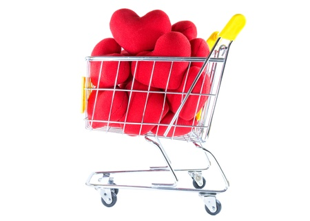 Many red hearts in shopping cart side view  Stock Photo - 17502400