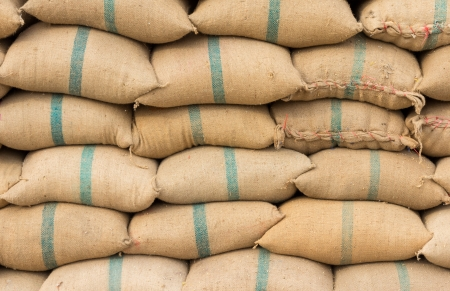 stowing: Many rice sacks in row