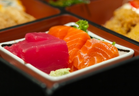 Closeup sushi in box set