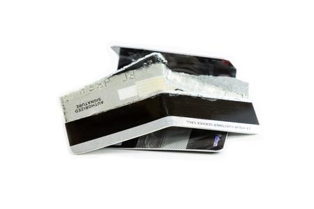 Damage credit cards on white background