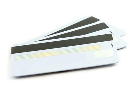 Set of white credit cards isolated background  Stock Photo
