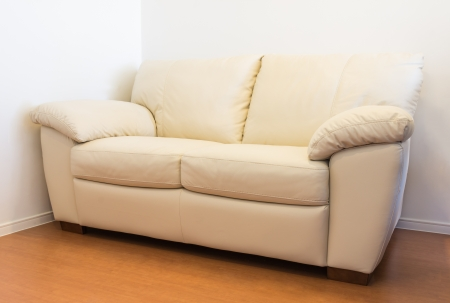 Leather sofa furniture in room  Stock Photo