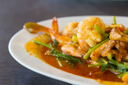 Closeup stir fried shrimp with spicy sauce