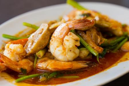 Stir fried shrimp with spicy sauce