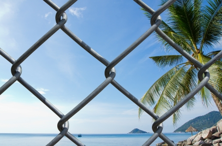 Wire mesh on seaview background  photo