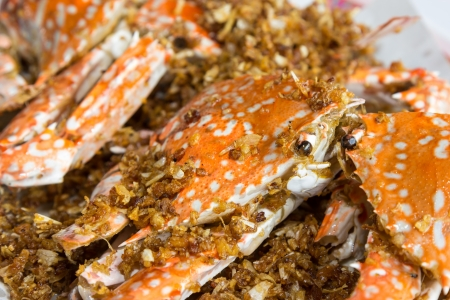 Fried crabs with garlic  Stock Photo