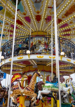 Merry go round in carnival vertical   Stock Photo