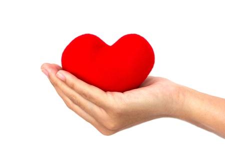 One heart shape in hand