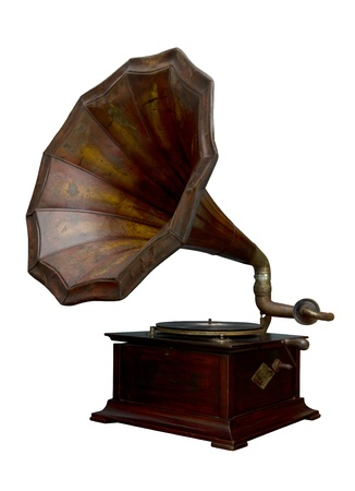 Classic Gramophone on white background  photo