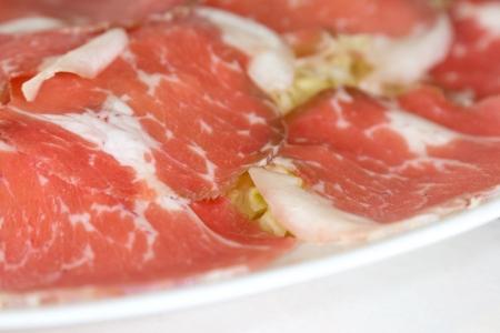 Closeup raw meat on dish  Stock Photo