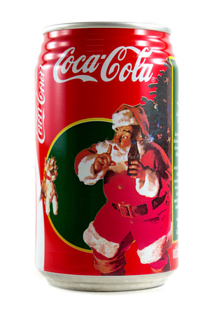 Bangkok, Thailand-December 10, 2013  A can of Coca Cola Christmas theme the image was painted by Haddon Sundblom in 1961  Editorial