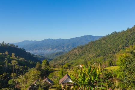 Beautiful depth of mountain view at chiang dao, Thailand  photo
