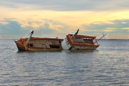 Shipwreck with stranded on the sea