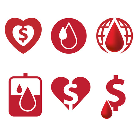 Blood and heart icon with dollar currency Illustration