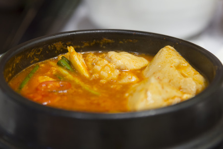 Kimchi stew with seafood korean cuisine  Stock Photo
