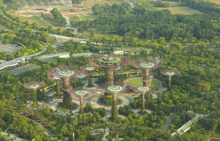 Singapore - October 23, 2014: Gardens by the Bay brings to life vision of creating a City in a Garden. The Gardens captures the essence of Singapore with the perfect environment in which to live and work