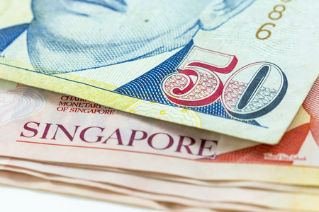 Macro Singapore dollars banknote Stock Photo