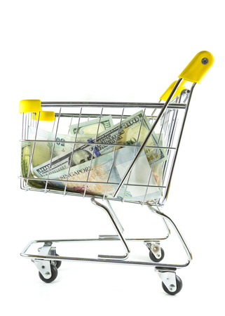Money in shopping cart on side view full length photo