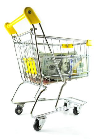 Money in shopping cart on back side