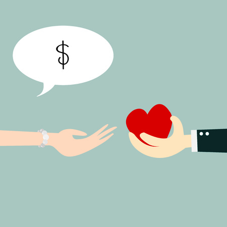 negotiable: Hand holding heart with concept business