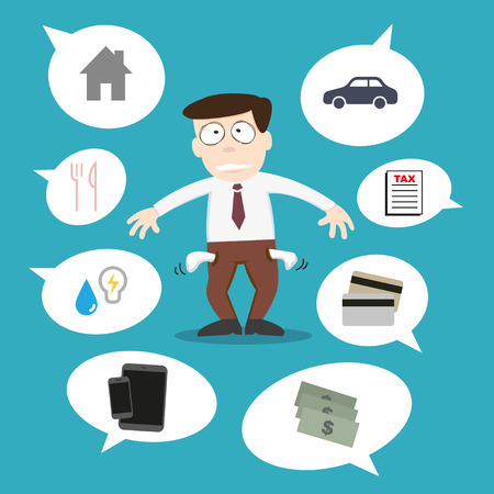 penniless: Business man with financial issue Illustration