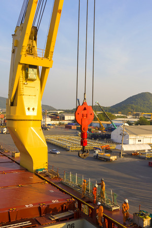 maneuverable: Worker with industry ship port Editorial