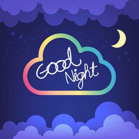 Good night letter with cloud and sky vector Illustration