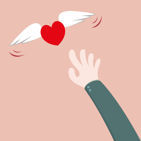 lovelorn: Heart flying away from hand Illustration
