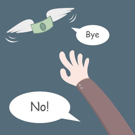 money flying: Money flying away from hand