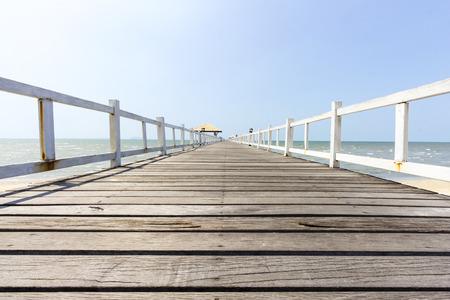 Wooden footbridge low view in seascape