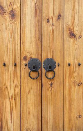 wooden doors: Wooden gate with door knocker chinese style vertical Stock Photo